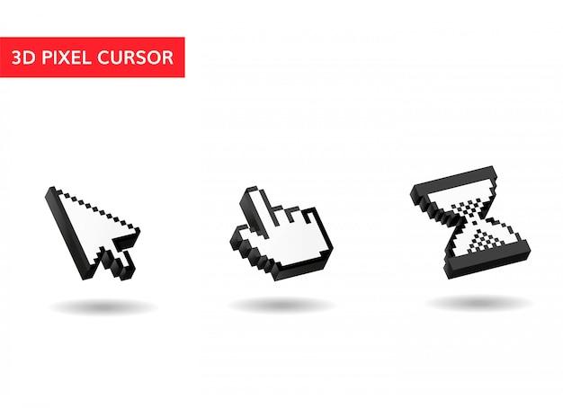 マウスカーソルピクセル、3次元、シンプルカーソル Premiumベクター