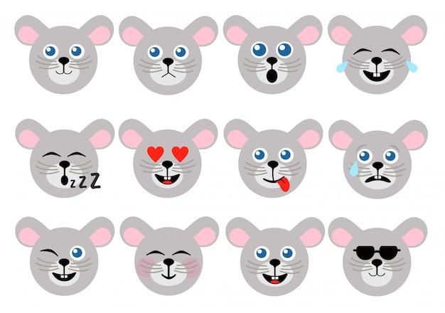 Мышиный смайлик. животные смайлики. иконки мыши лицо. Premium векторы