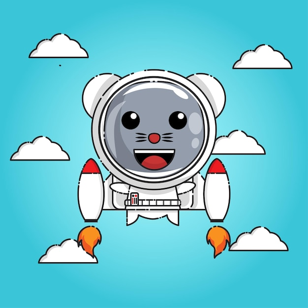 Mouse fly with jet kawaii design character Premium Vector
