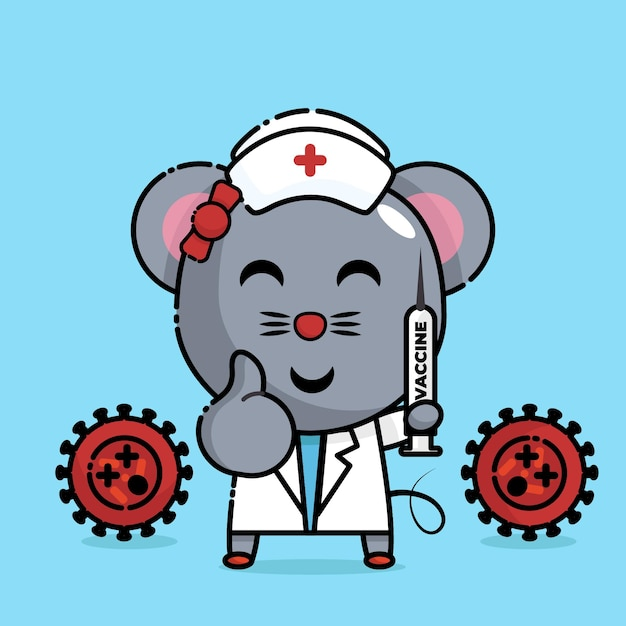 Mouse holding the injection in nurse uniform kawaii Premium Vector