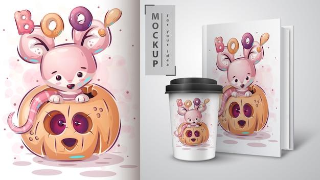 カボチャのマウス-ポスターと商品化。 無料ベクター