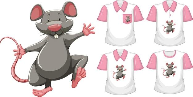 Мышь в положении стоя мультипликационный персонаж со многими типами рубашек на белом Бесплатные векторы
