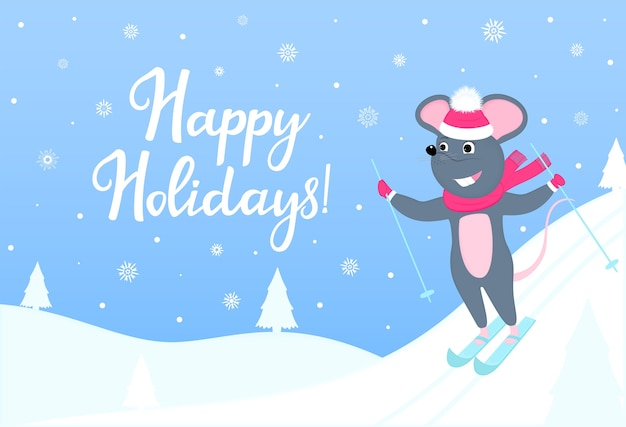 The mouse is skiing. happy holidays horizontal banner with winter landscape. greeting card for new year and christmas. Premium Vector