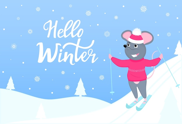 The mouse is skiing. hello winter horizontal banner with winter landscape. greeting card for new year and christmas. Premium Vector