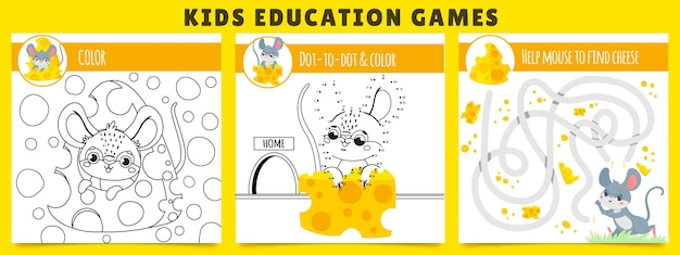 Mouse kids games. coloring game, mouse find cheese maze and dot by dot cartoon illustration set. Premium Vector