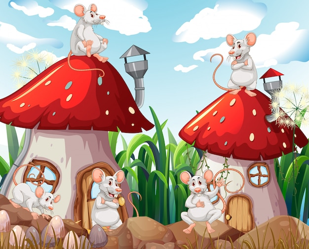 Mouse at mushroom house Free Vector