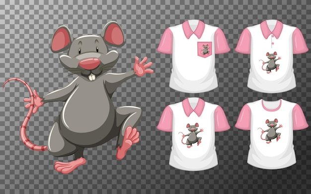 Mouse in stand position cartoon character with many types of shirts on transparent Free Vector