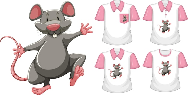 Mouse in stand position cartoon character with many types of shirts on white Free Vector