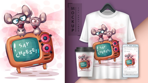 Mouse and tv poster and merchandising Premium Vector