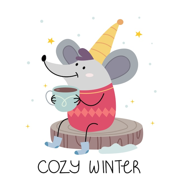 A mouse in a warm jacket drinks cocoa and smiles. illustration for children's book. cute poster. scandinavian style .minimalism. nature. Premium Vector
