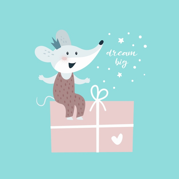 Mouse with gift. card Premium Vector
