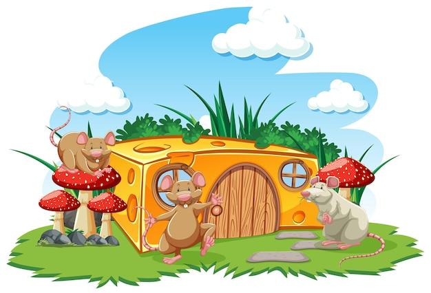 Мышки с сырным домиком в саду мультяшном стиле на фоне неба Бесплатные векторы