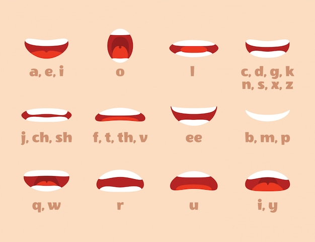 Mouth animation. cartoon lips speak expression, articulation and smile. speaking talking mouth  isolated Premium Vector