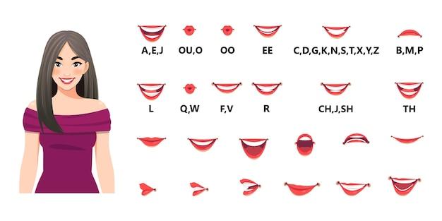 口のアニメーションセット。口は文字を発音します。唇の動き。唇、舌、歯を備えたさまざまな開口オプション。図 Premiumベクター