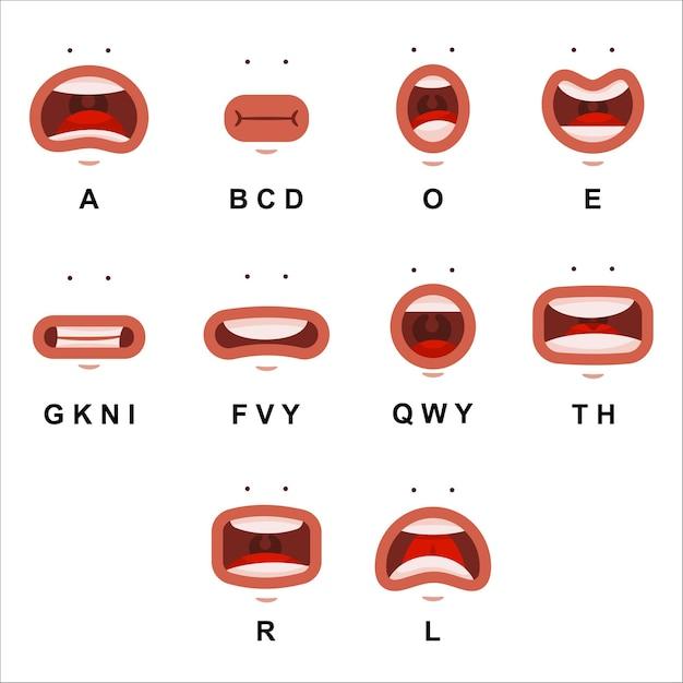 Анимация рта с милыми глазами. мультфильм плоские губы говорят выражение характера, изолированные на белом фоне. Premium векторы