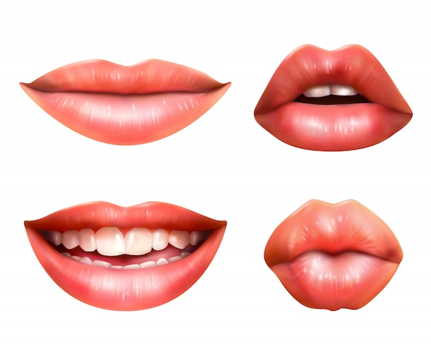 Mouth body language icons set Free Vector