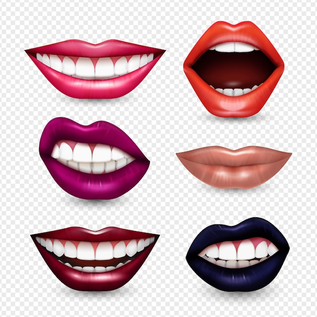 Mouth expressions lips body language  realistic set with bright drawing attention lipstick colors transparent Free Vector