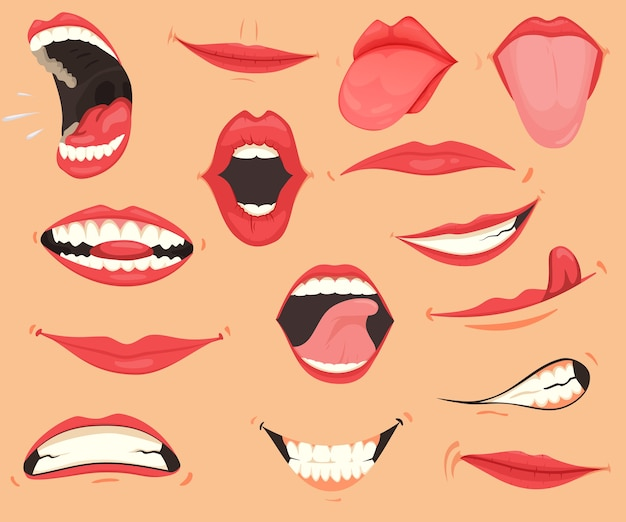 Mouth expressions. lips with a variety of emotions, facial expressions. Premium Vector