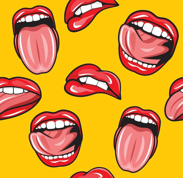 Mouth pop art vector seamless pattern Premium Vector