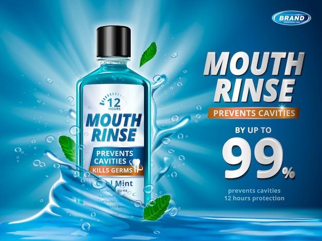 EPS mẫu quảng cáo nước súc miệng, sản phẩm nước súc miệng sảng khoái với các yếu tố nước bắn tung tóe và lá bạc hà trong minh họa 3D