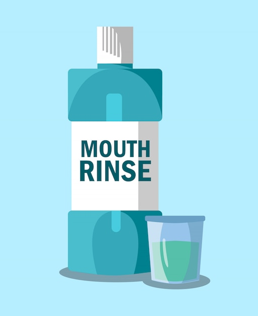 Mouth rinse, mouthwash   illustration Premium Vector