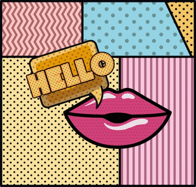Mouth saying hello pop art style Premium Vector