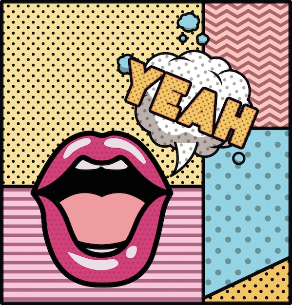 Mouth saying yeah pop art style Premium Vector