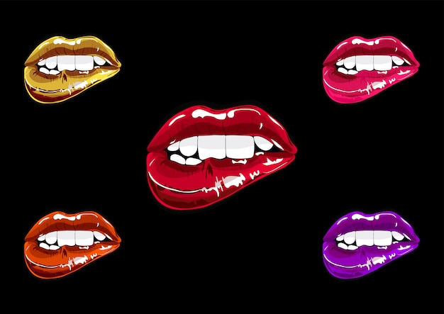 Mouth set pop art. lips patch collection Premium Vector