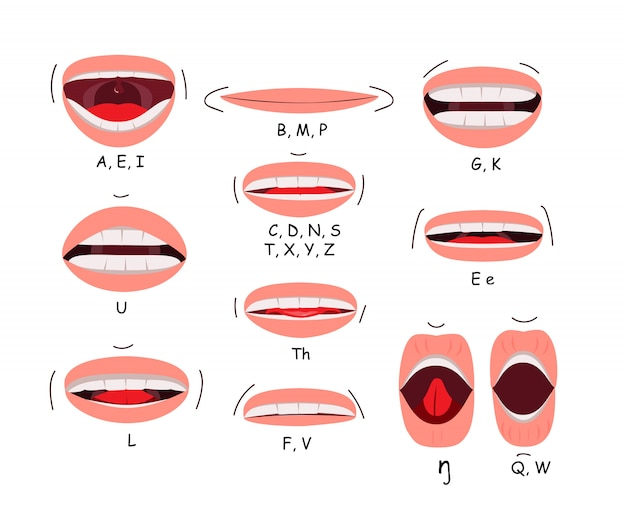 Mouth sync flat icon set Free Vector