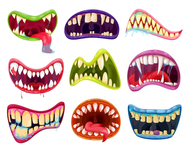 Mouth and teeth of halloween monsters  set. cartoon scary smile expressions with alien animal tongues, vampire, beast, devil or demon creature creepy lips and fangs with blood and saliva Premium Vector