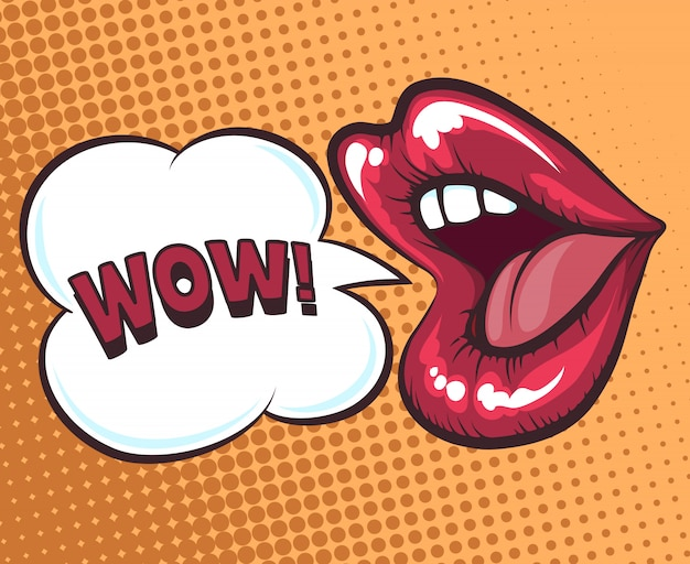 Mouth with speach bubble Premium Vector