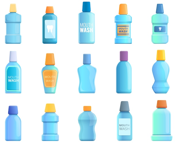 Mouthwash icons set. cartoon set of mouthwash vector icons Premium Vector