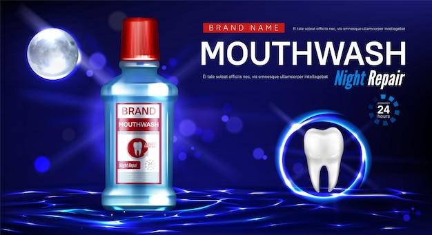 Mouthwash night repair promo poster Free Vector