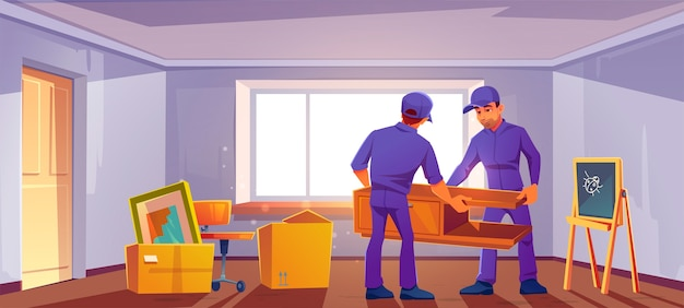 Move to new house concept. loaders bringing furniture and boxes in room. Free Vector