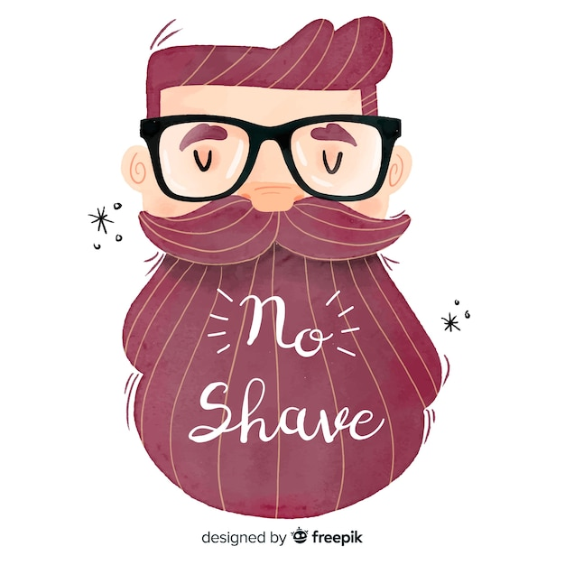 Movember awareness background with bearded man Free Vector