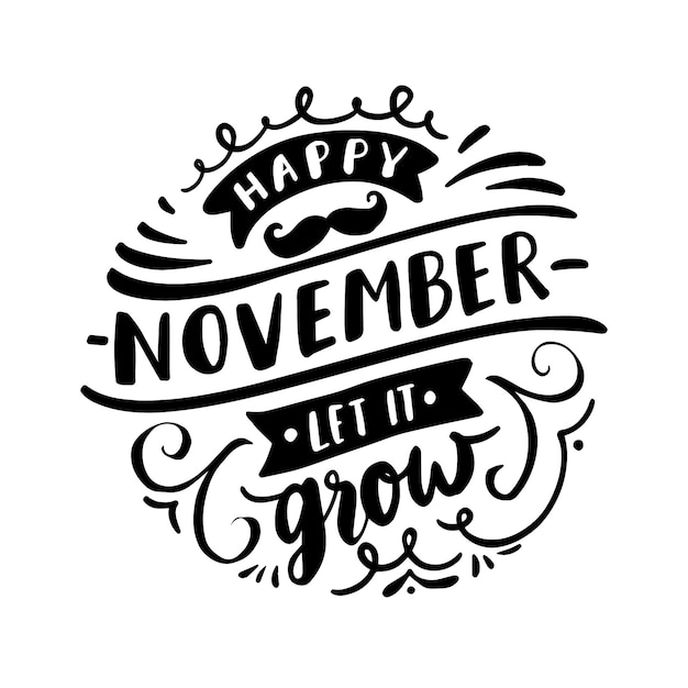 Movember awareness with lettering Free Vector