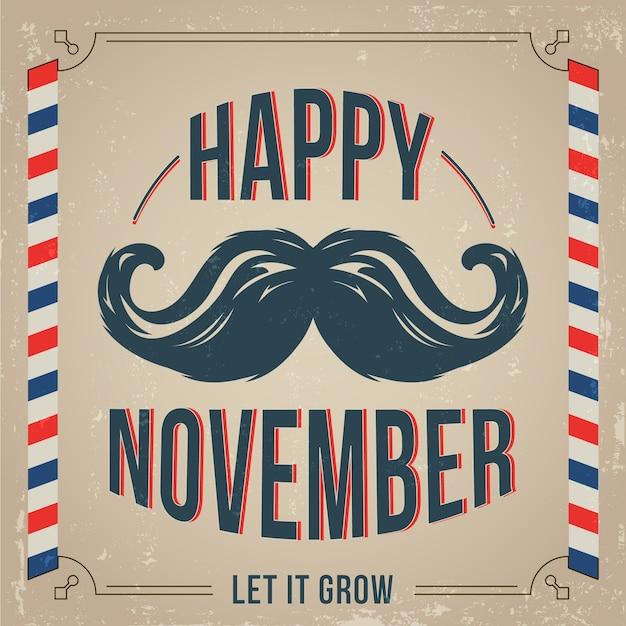 Movember фон с винтажном стиле Бесплатные векторы