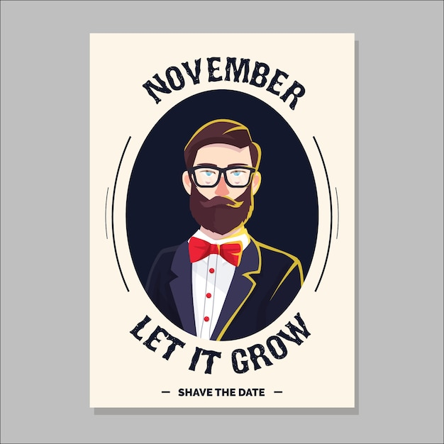 Movember brochure with modern hipster Free Vector