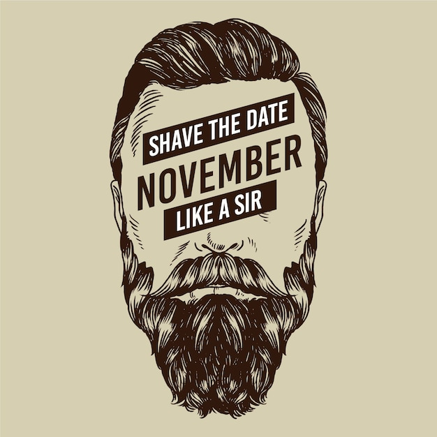Movember concept with vintage design Premium Vector