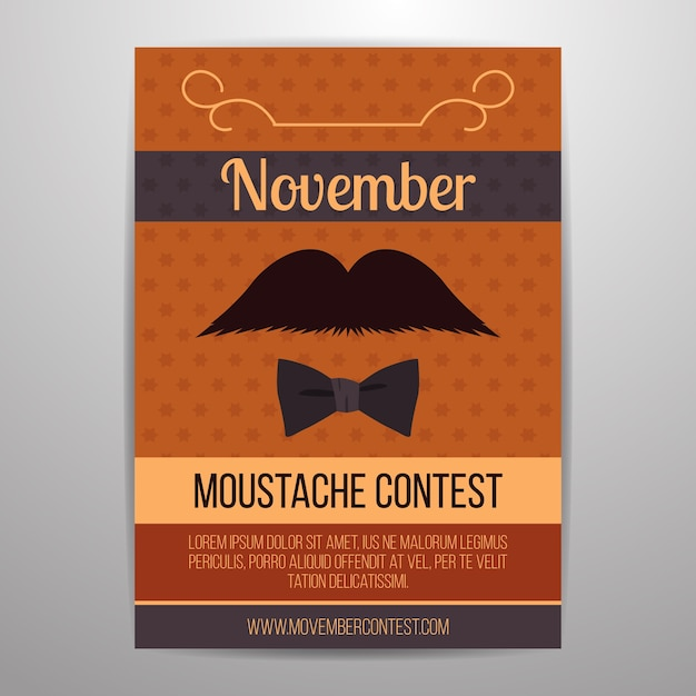 Movember flyer four moustache contest Free Vector