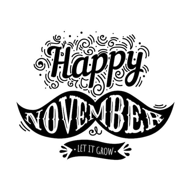 Movember Lettering Design Free Vector