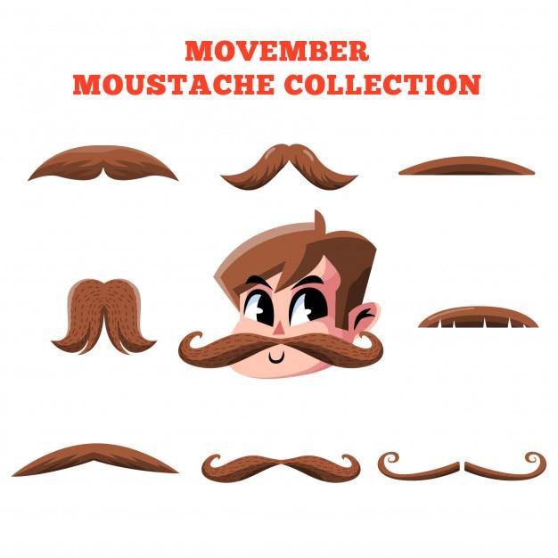Movember moustache collection vector Premium Vector