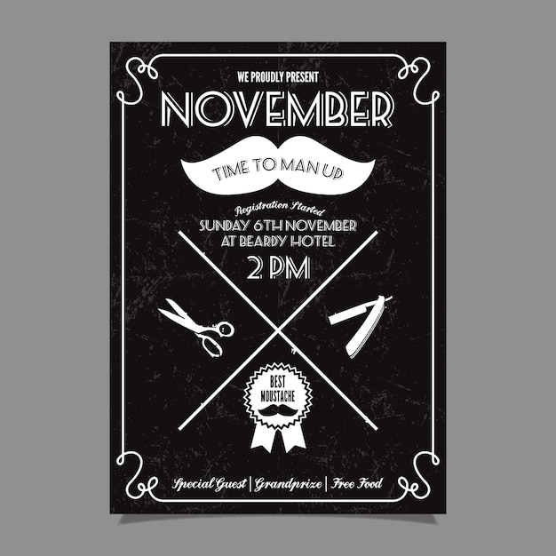 Movember moustache competition poster Free Vector