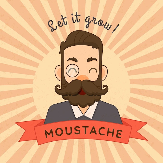 Movember mustache awareness background in flat design Free Vector
