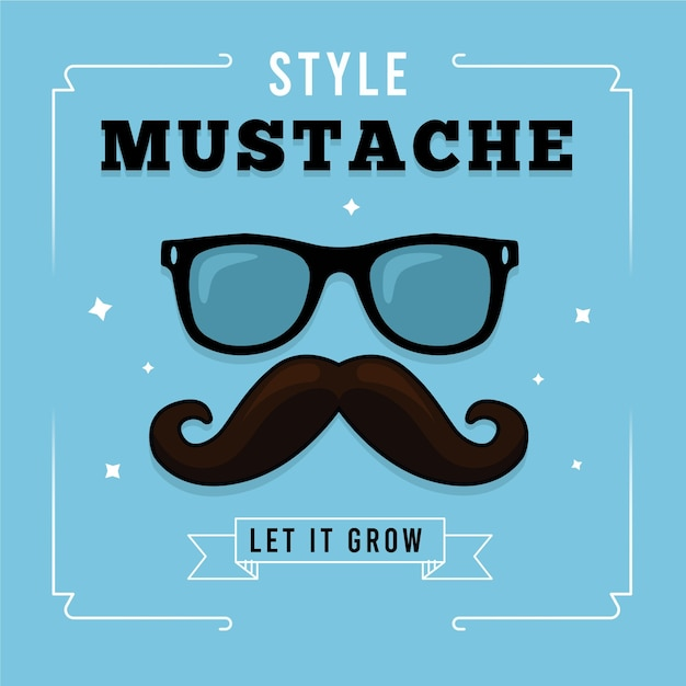 Movember mustache awareness background with hipster glasses Free Vector