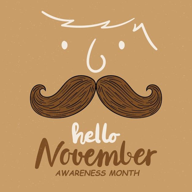 Movember mustache awareness background Free Vector