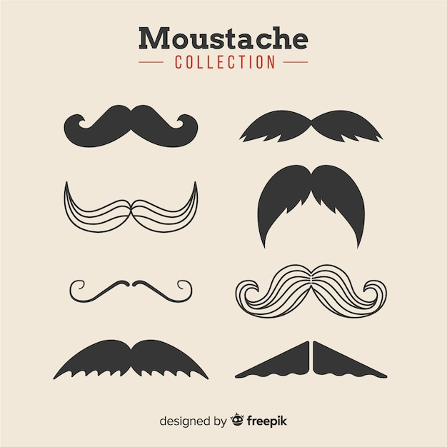 Movember mustache collection in different shapes in flat design Free Vector
