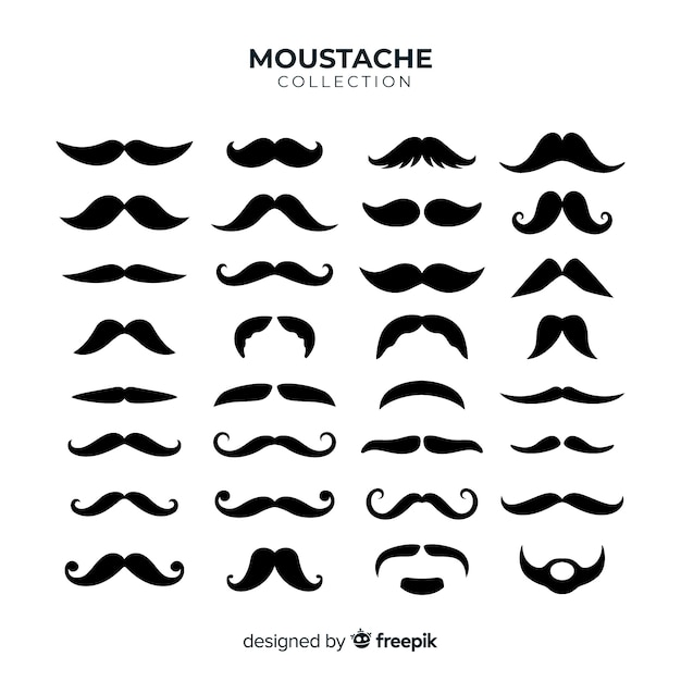 Movember mustache pack collection in flat design Free Vector