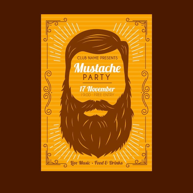 Movember mustache poster template Free Vector