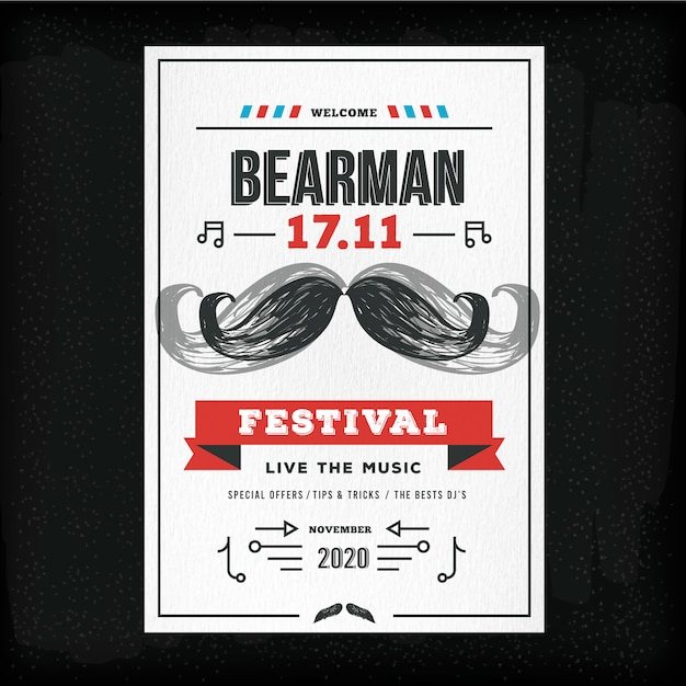 Movember poster template for club Vector | Free Download